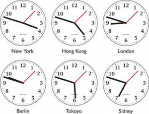 clocks for different time zones