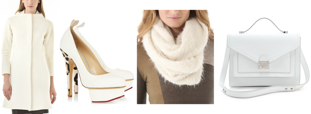 white accessories for winter
