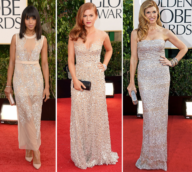 metallic dresses golden globes 2013
