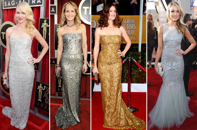 sag 2013 red carpet metallic dresses