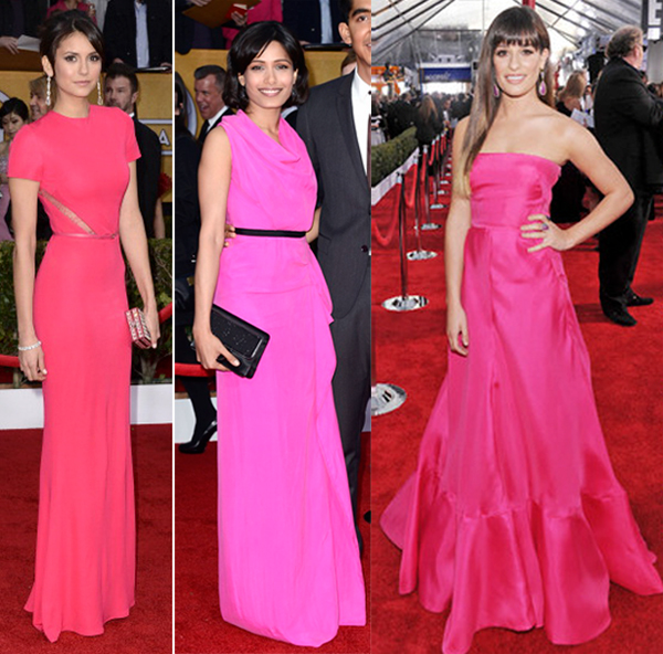 sag awards 2013 pink dresses