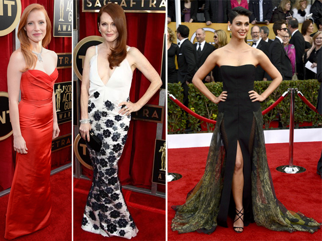 jessica chastain julianne moore worst dressed sag awards 2013