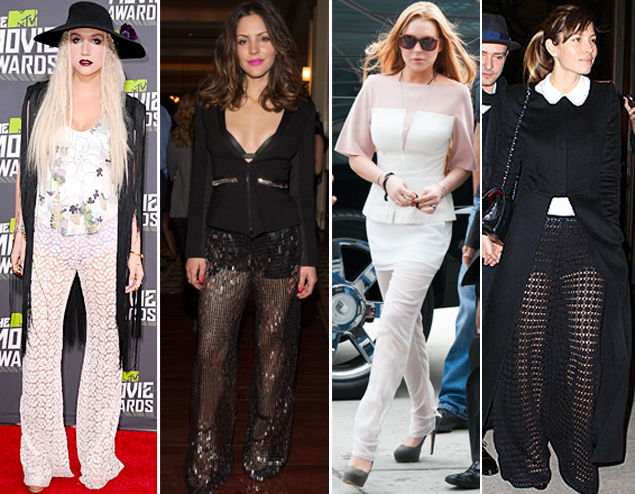 celebrity sheer chiffon pants