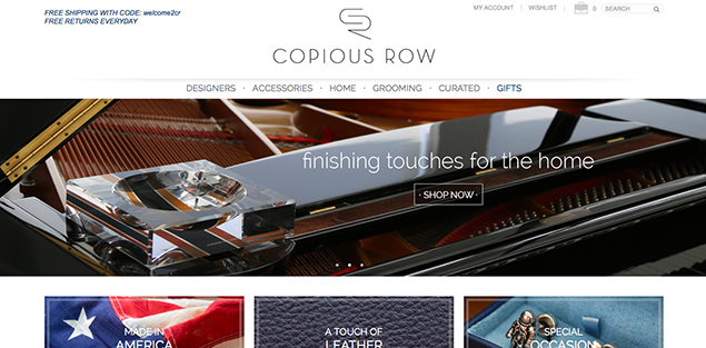 copious row landing page