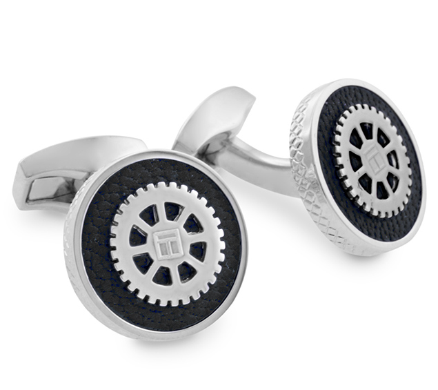 leather gear cufflinks copious row