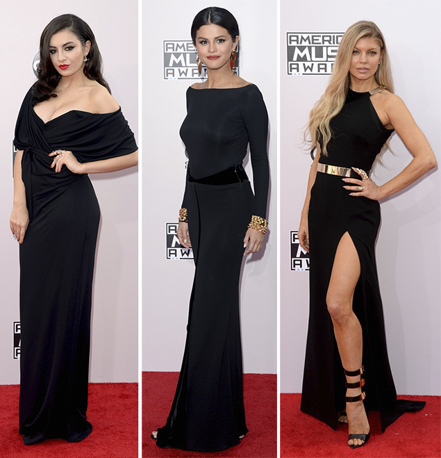 american music awards red carpet black dresses