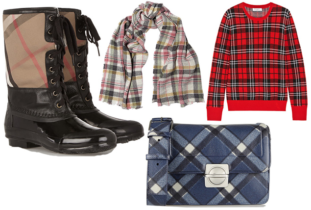 burberry rain boots plaid