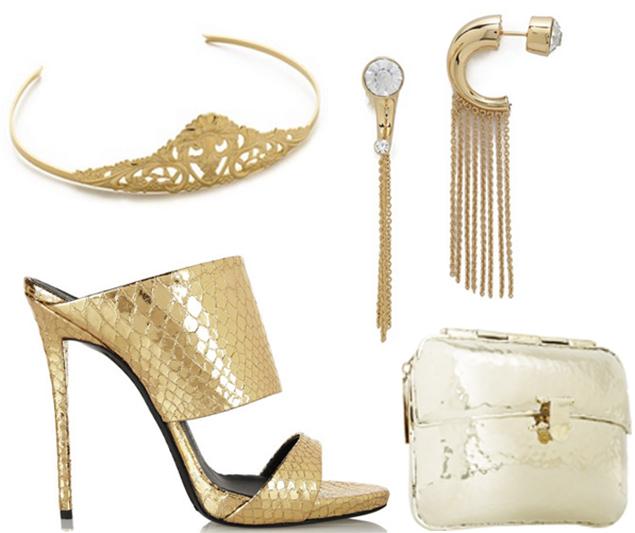 gold metallic accessories