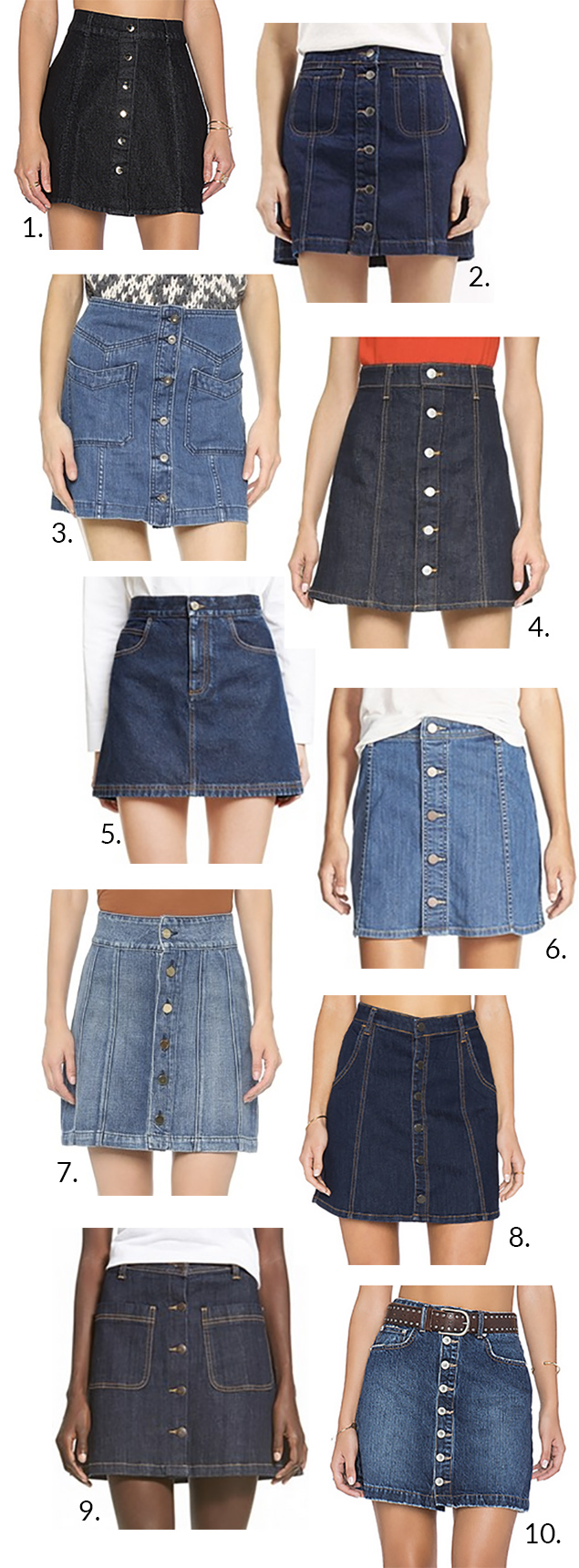 button down denim skirts