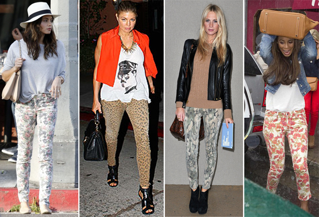 celebrities wearing printed denim