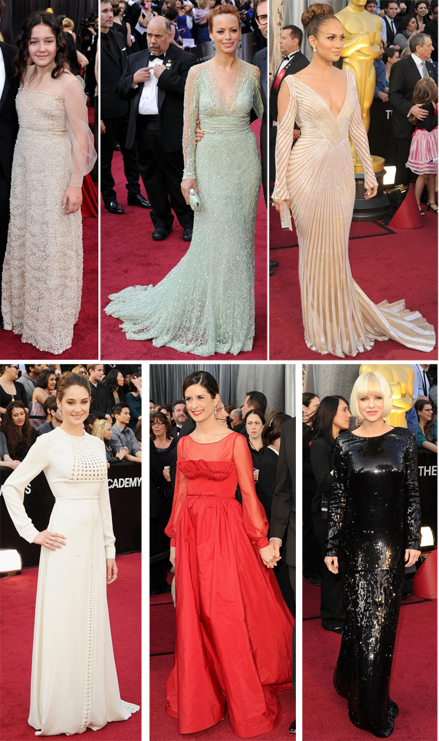 oscars dresses with long sleeves