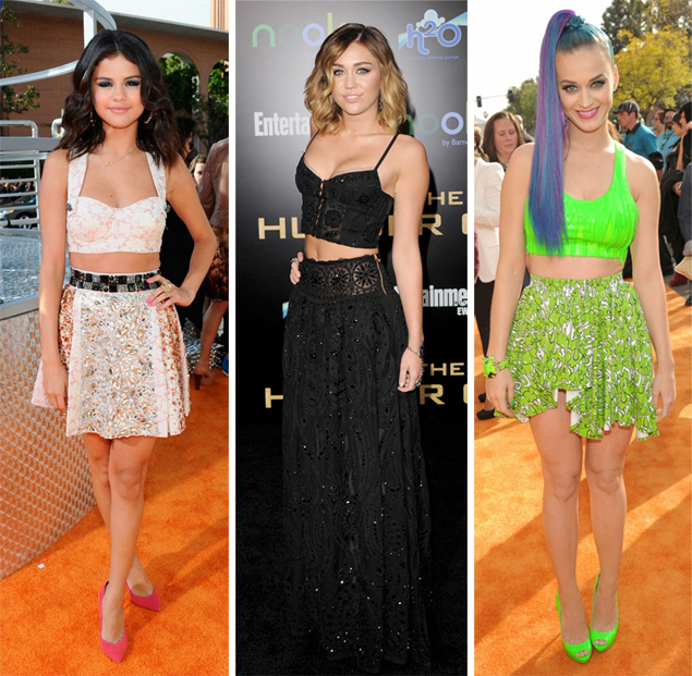celebrities crop tops