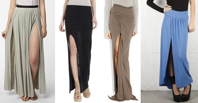 thigh slit skirts
