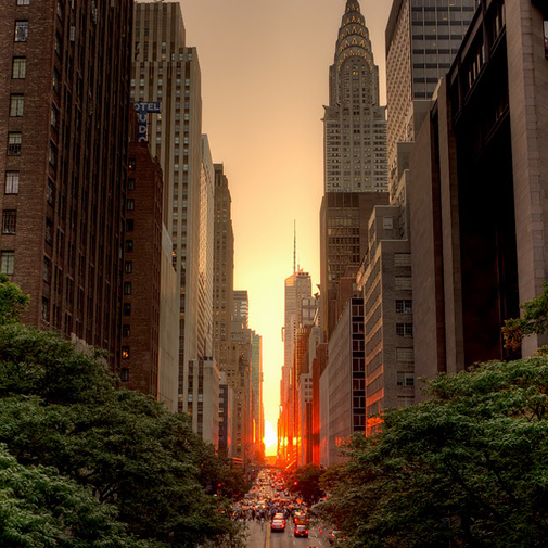 nyc sunset between buildings