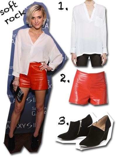ashlee simpson red leather shorts