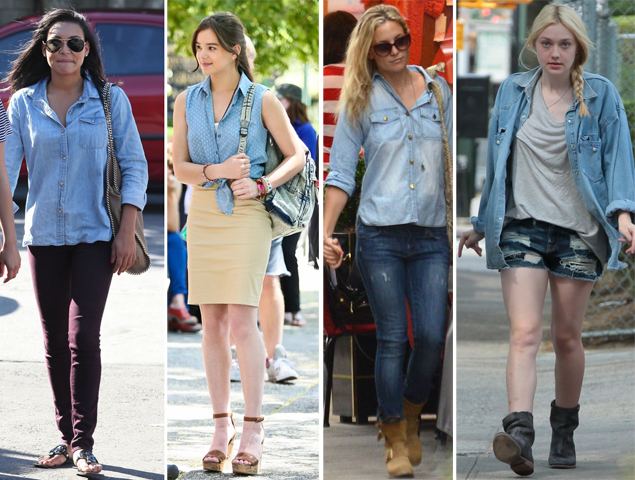 celebrities in denim shirts