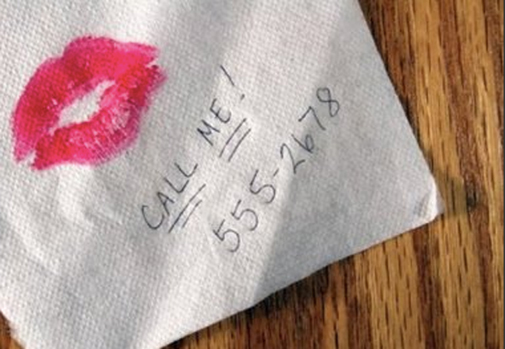 kiss on a napkin